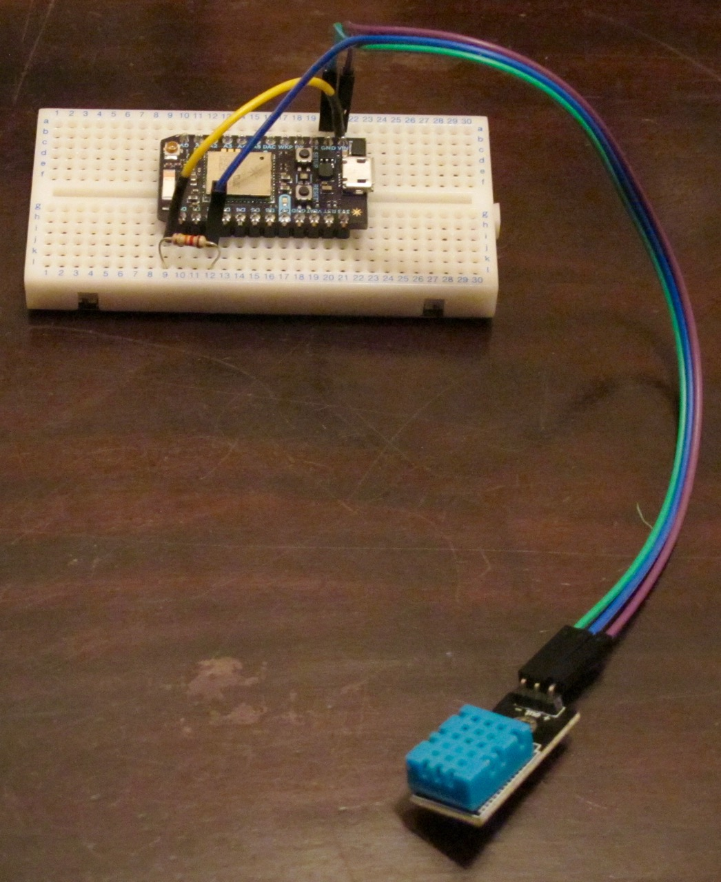 Photon on breadboard with sensor attached