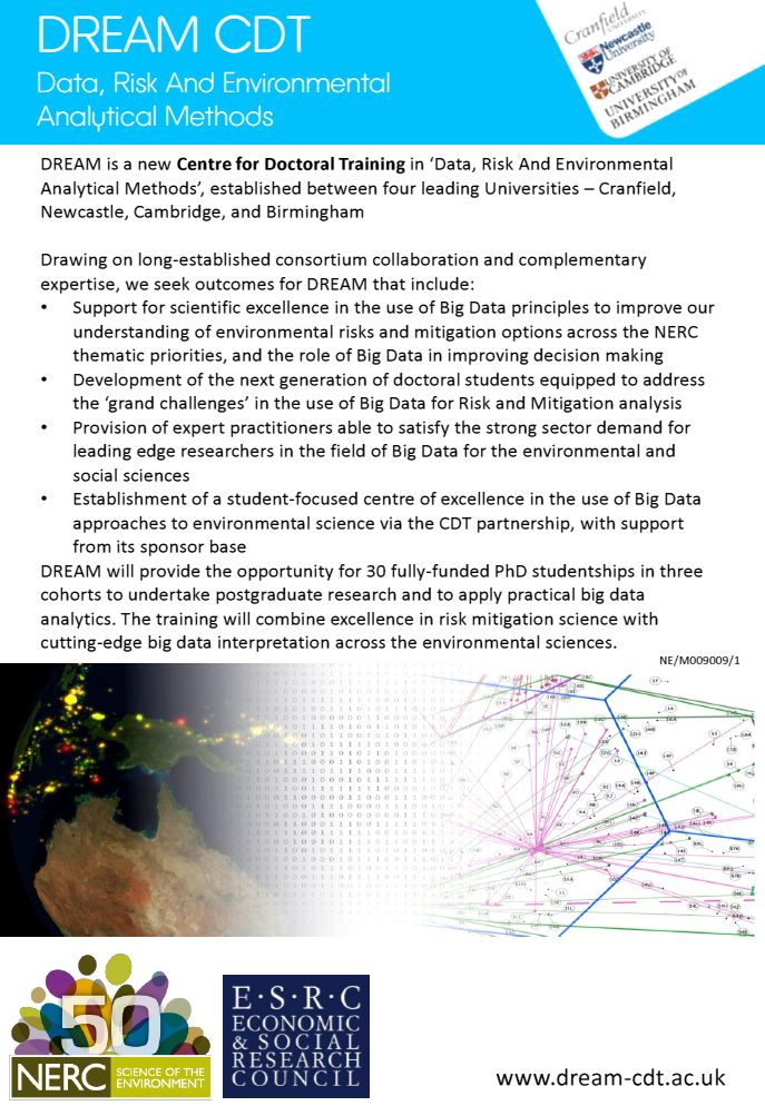 Cranfield University - DREAM Centre for Doctoral Training in Big Data and Environmental Risk Mitigation