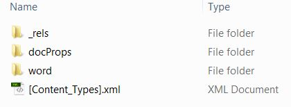 MS Word XML file structure